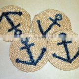 anchor printed nautical rope coaster jute rope coaster custom nautical rope coaster