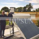 Vacuum tube pre-heated copper coil pressurized solar water heater