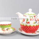 tableware ceramics with fruit decal porcelain refined chinese tea pot giftporcelain tea cup and saucer with ceramic strainer