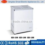 supermarket flat sliding glass lid chest freezer with inside condenser