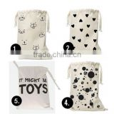 Heart Bear eyelash Pattern Laundry Bag Pouch,Canvas Storage Bag for Toys Clothing,Baby Kids Toys Storage Bag Cute Wall Pocket