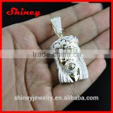 2014 fashion rapper jewelry,hip hop bling silver jesus piece necklace