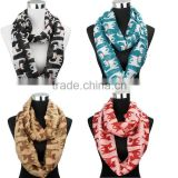 2015 Foreign Trade America Popular New Style Cute Lovely Bow Knot Cat Printed Round Neck Scarf
