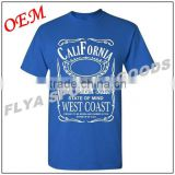 men's causal style 100% cotton breathable t shirts, blue color t shirt 180 grams cotton