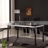 Modern Black Glass Dining Table Set Steel Tables Legs and Chairs(SZ-DT100C)