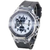 YB new products six hands silicone rubber bracelet watch with rotating bezel