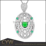 CYW custom necklace pendant high quality jewelry accessories oval sterling silver jewelry pendants charm