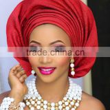 beaded hair accessories african gele aso oke head tie with beads for women hair tie AS09-13