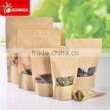 Custom printed kraft paper zip lock bag with plastic window                                                                         Quality Choice