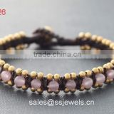 Lovely Rose Quartz Beaded Popular Bracelets For Fashion Girl Thai Style Hand Woven Cheap Jewelry Wholesale China