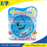 Smiling face blue baby toy tambourine with plastic sheets