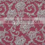 Mesh lace fabric with beading