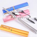 flatware set,foldable Stainless Steel Fork, Spoon and Chopstick with Metal Container