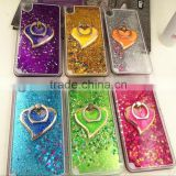 High Quality Colorful Heart Liquid Glitter Cell Phone case for Iphone6 6S with Ring Holder