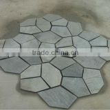 polygon workmesh flagstone mesh paver decoration cladding stone assembled slate on mesh,slate mesh back paver decoration,