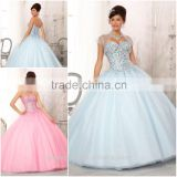 Classic Western style Ball gown dress patterns ice blue Quinceanera Dresses with Jacket CYQ-009