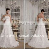 Festival Real Sample A Line Strapless Appliques Long Train Organza Floor Length Beaded Wedding Gown Bridal Dress RP0006 Dresses