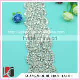 HC-2022 Decorative Crystal fancy Stone Fabric Trim for Bridal Embroidery Lace,Yard Rhinestone Trimming for Wedding Belt                                                                         Quality Choice