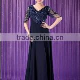 Newest V-neck Floor-Length Chiffon Dress With Ruffle Beading Sequins Party dress evening dress