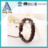 Fashion Jewelry Wholesale Mens Bracelets Wrapped Genuine Leather Bracelet with Braided Rope