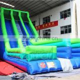 Outdoors giant inflatable water slide for adult, inflatable double lane dry slide for sale