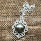 wholesale S925 silver seawater Tahitian pearl pendant necklace jewelry