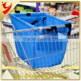 Large Capacity Foldable Cart Trolley Supermarket Green Eco-friendly Shopping Bag square pocket Reusable Foldable handle Bag