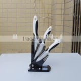 Double injection handle black and white color ABS or PP handle general use kitchen ceramic knife set in plastic holder