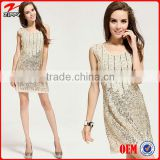 Sequin dress Fashion Elegant Beige Paillette sequin Beading dress Evening sequin Dress heavy beaded evening dresses