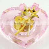 New products pink color wind up heart crystal piano music for christmas decoration(R-2068)