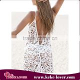 New fashion white lace beachwear sexy hollow girls dress for beach summer long beach dress wholesale