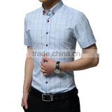 high quality cotton extra size shirts men's slim fit casual plaid short sleeve shirts