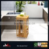 natural finish E1 MDF kitchen island cart with stool