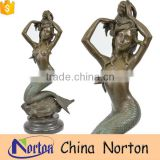 Handmade nude mermaid brass fountain christmas decor NTBF-MF011Y