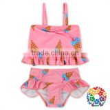 Girls Two Pieces Swimsuit Set Ice Cream Print Ruffle Bikini Swimwear For Kids