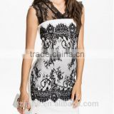 MIni Brief Casual Lace Decorative Bodycon Vintage Dress Retro Vestiodos White Black Patchwork Sleeveless