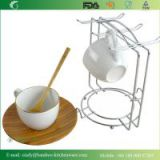 Coffee Cup Set with Bamboo Plate and Stainless Steel Stand Rack