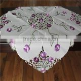 Embroidery Tablecloths 85x85cm Flowers Floral Table Cloth Cover Ruffles Wedding Banquet Gift Dining Room Hollow Out