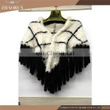 2016 Fashion Knitted Mink Fur Shawl Genuine Dyed Mink Fur Cape