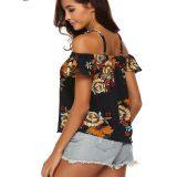 Spaghetti Strap Floral Printed Off Should Blouse