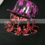 plastic fedora hats custom made with halloween logo print, custom logo printing plastic hat
