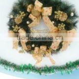 Artificial PVC Christmas Wreath With Bow Ties/ Holiday Wreath Decorations Handmade Plastic christmas wreath for X'mas decor