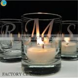 online Hot-selling print letters clear thick bottom glass candle jars/ wedding romantic table deco