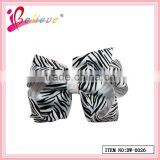 Factory wholesale promotional animal stripes pattern hair bow ribbon hairgrips for girls (DW--0026)