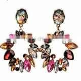 New Leaves flower acrylic big drop acessorios earring long crystal brand dangle earrings for women fashion jewelry 2015