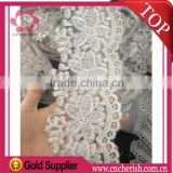 Wholesale embroidery polyester stripe lace with waves shape for wedding dress and clothing decoration