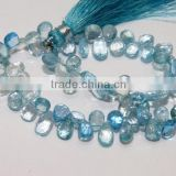 100% Natural Blue Topaz faceted Tear,Pear, Drops Briolette 6X4.5MM-9.5X5.5MM Approx 8''Inch AAA++ On WholeSale Price.
