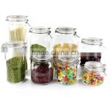 metal clip top glass storage jar set