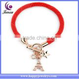 New exclusive Eiffel Tower charm bracelet red rope chain wholesale brand bracelet ( YWH5067)