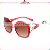 Laura Fairy 2015 Beautiful Fashion HollowOut Metal Bow Decor Red Sunglasses Womens